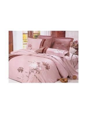 Комплект постельного белья с одеялом 4 предмета HAMRAN. Цвет: розовый, белый, коричневый