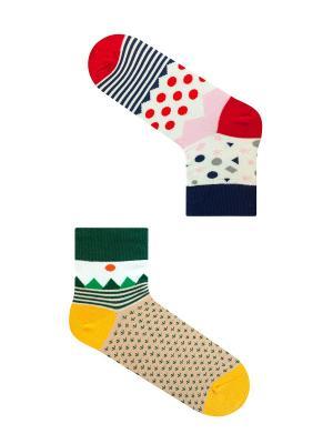 Набор Японская гравюра (2 пары в упаковке), дизайнерские носки SOXshop. Цвет: синий, красный, лазурный