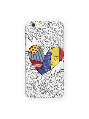 Чехол для IPhone 6 Цветное сердце с крыльями Mitya Veselkov. Цвет: серый, черный