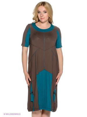 Платье МадаМ Т. Цвет: морская волна, коричневый