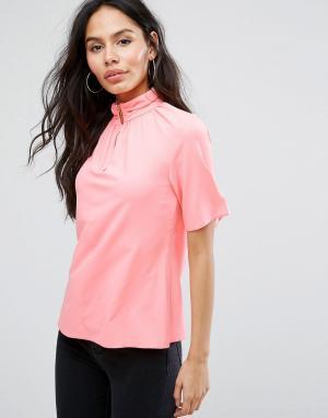 Closet London Рубашка с короткими рукавами и высоким воротом. Цвет: розовый