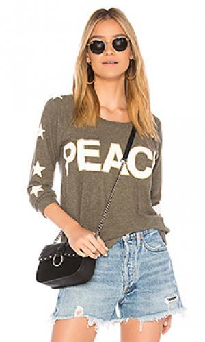 Свитшот peace star Chaser. Цвет: оливковый