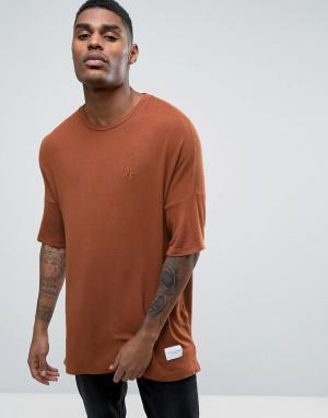 Criminal Damage Свободная трикотажная футболка. Цвет: коричневый