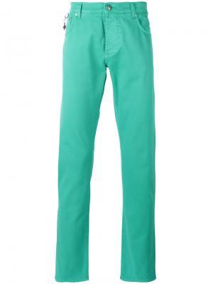 Классические брюки-чинос Isaia. Цвет: зелёный