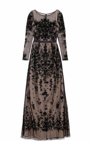 Приталенное платье-макси без рукавов с вышивкой Basix Black Label. Цвет: черный