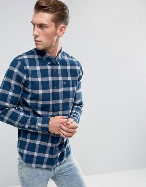 Hollister Темно-синяя облегающая рубашка в клетку. Цвет: темно-синий