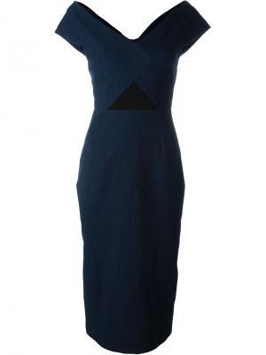 Фактурное платье со спущенными плечами Roland Mouret. Цвет: синий