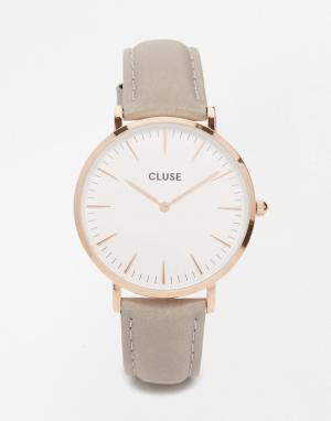 Cluse Часы с серым кожаным ремешком и розово-золотистым корпусом La Bo. Цвет: серый