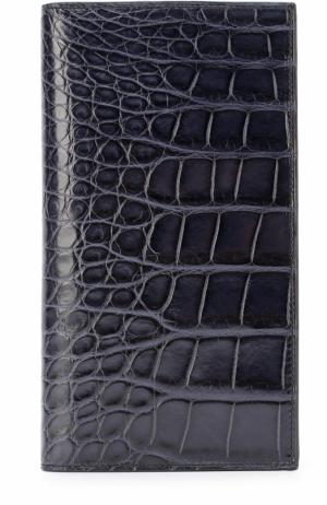 Портмоне из кожи аллигатора с отделениями для кредитных карт Brioni. Цвет: темно-синий