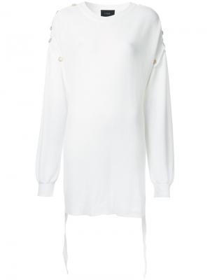 Удлиненный джемпер с пуговицами G.V.G.V.. Цвет: белый
