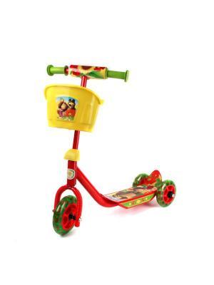 Самокат Маша и Медведь. 3-колесный, пластик, колеса пвх, до 20 кг. Next. Цвет: желтый, зеленый, оранжевый