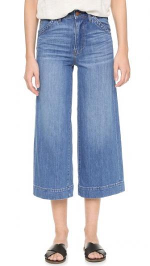 Широкие укороченные джинсы Madewell. Цвет: умеренный индиго