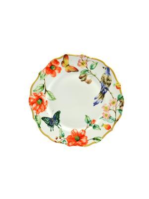 Тарелка обеденная Дивная птица Elff Ceramics. Цвет: белый, синий, красный
