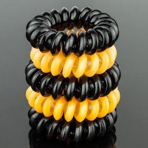 Комплект Резинок-Пружинок для волос 5 шт/уп, арт. РПВ-338 Бусики-Колечки. Цвет: черный