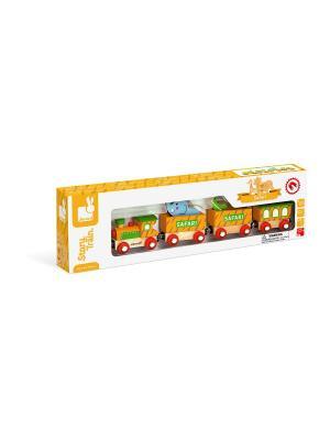 Каталка на веревочке Поезд сафари Janod. Цвет: желтый
