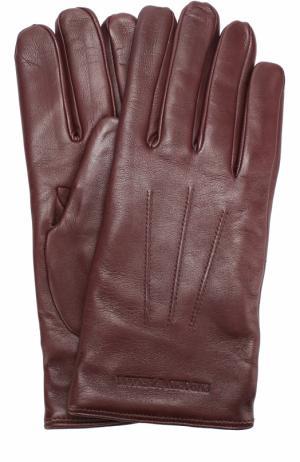 Кожаные перчатки с шерстяной подкладкой Emporio Armani. Цвет: бордовый