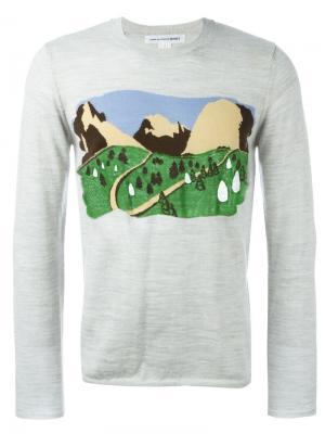 Свитер с принтом гор Comme Des Garçons Shirt. Цвет: серый