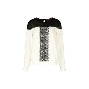 Блузка однотонная с круглым вырезом и длинными рукавами RENE DERHY. Цвет: экрю/черный