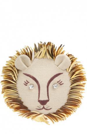 Текстильный клатч Leo с вышивкой Charlotte Olympia. Цвет: бежевый