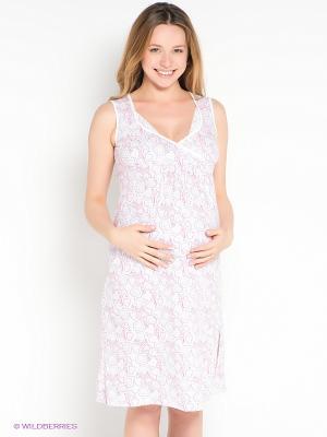 Сорочка Hunny Mammy. Цвет: белый, бледно-розовый