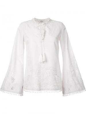 Блузка с расклешенными рукавами Talitha. Цвет: белый