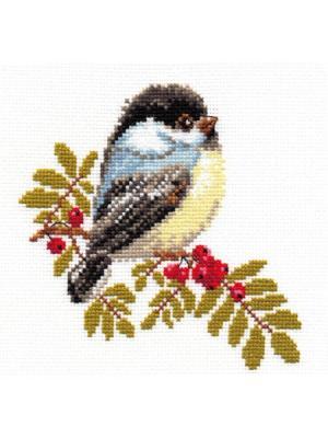 Набор для вышивания Синичка  15х14 см Алиса. Цвет: белый, черный, серый, темно-серый, светло-серый, светло-желтый, красный