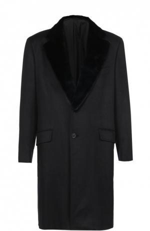 Однобортное пальто из смеси шерсти и кашемира с меховой отделкой воротника Brioni. Цвет: синий