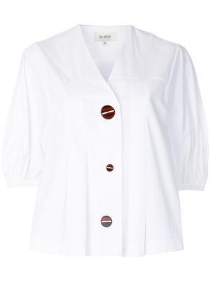 Рубашка с V-образным вырезом и короткими рукавами Isa Arfen. Цвет: белый
