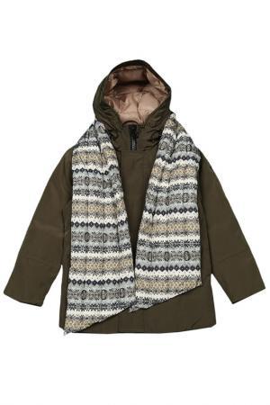 Куртка с шарфом Fifty Four. Цвет: зеленый, болотный