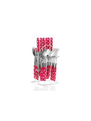 Набор столовых приборов на подставке Flore,24 предмета розовый Elff Ceramics. Цвет: розовый