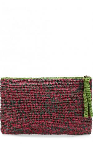 Клатч Masemoiselle из рафии Sans-Arcidet. Цвет: темно-зеленый