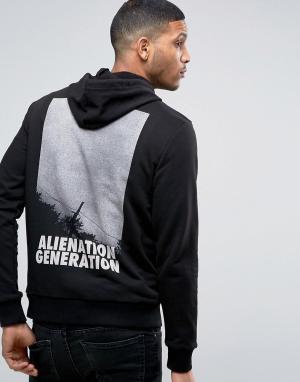 Antioch Худи с принтом Alien Generation. Цвет: черный