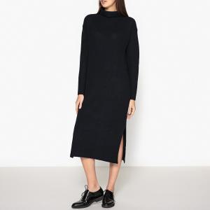 Платье из трикотажа в рубчик POMANDERE. Цвет: темно-синий