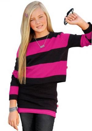 Пуловер, CFL. Цвет: ярко-розовый с чёрным в полоску