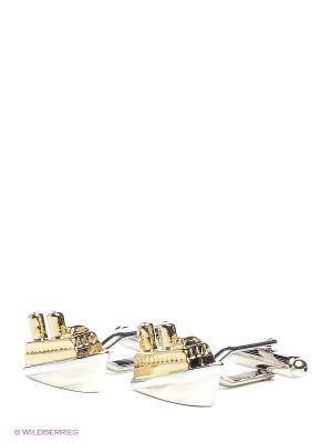 Запонки Корабли в золоте Mitya Veselkov. Цвет: серебристый