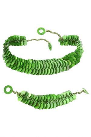 Комплект: колье, браслет Be You to Full. Цвет: зеленый