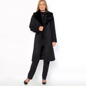 Пальто, 70% шерсти и 10% кашемира ANNE WEYBURN. Цвет: каштан/каштан,малиновый,серый меланж/черный,темно-бежевый / шоколадный,черный/ черный