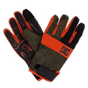 Перчатки сноубордические DC Antuco Glove Camo Lodge Shoes. Цвет: черный,зеленый,оранжевый