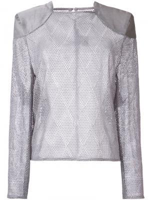 Блузка Croquet Lace Feint Bianca Spender. Цвет: серый