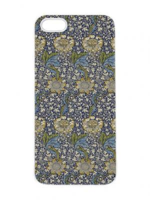 Чехол для iPhone 5/5s Синий гобелен с подсолнухами Арт. IP5-284 Chocopony. Цвет: синий, хаки, темно-серый, голубой, белый