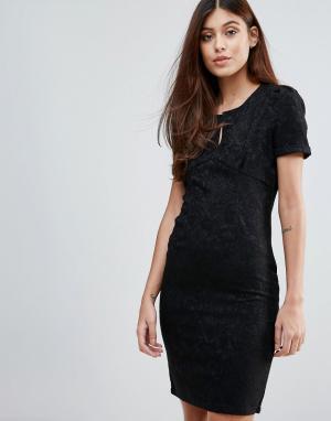 Zibi London Жаккардовое цельнокройное платье. Цвет: черный
