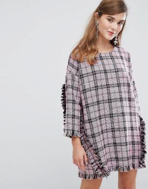 Sister jane Свободное твидовое платье с оборками. Цвет: черный