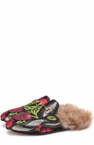 Сабо Princetown из текстиля с цветочной вышивкой Gucci. Цвет: черный