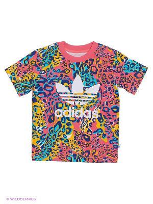 Футболка Adidas. Цвет: синий, розовый, желтый, белый
