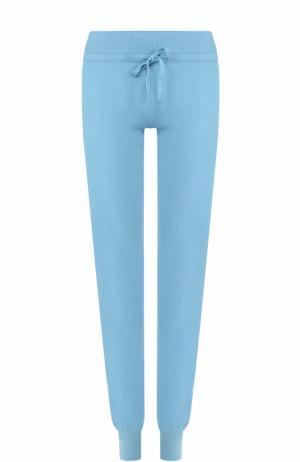 Кашемировые брюки прямого кроя с эластичным поясом и манжетами Cruciani. Цвет: голубой