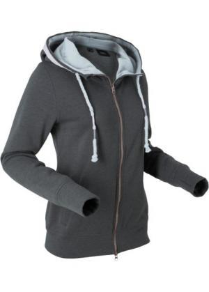 Трикотажная куртка с вышивкой и длинным рукавом (шиферно-серый меланж) bonprix. Цвет: шиферно-серый меланж