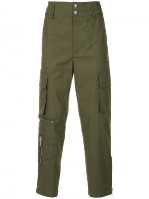 Зауженные брюки карго Public School. Цвет: зелёный