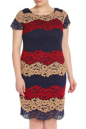 Вечернее платье из гипюра Forus. Цвет: синий, красный, рыжий