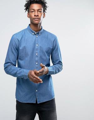 Minimum Зауженная джинсовая рубашка на пуговицах Barden. Цвет: синий