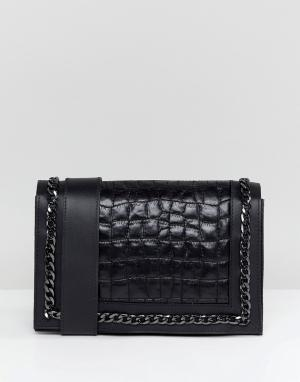ASOS Стеганая кожаная сумка через плечо с цепочкой DESIGN. Цвет: черный